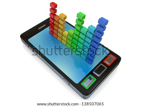 CELLULAR AND EQUALIZER - 3D - stock photo