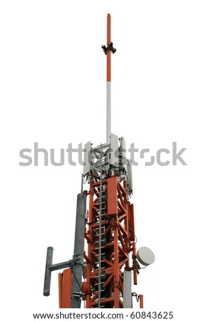 Cellular antenna. Top of a telecommunications antenna tower. Isolated on white. - stock photo