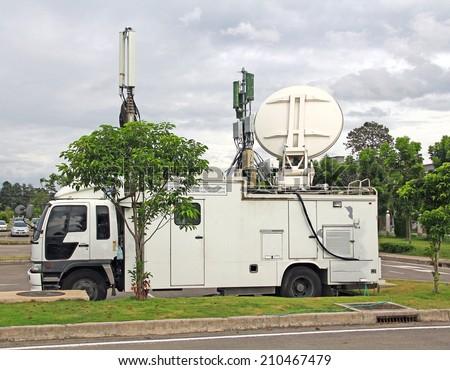 cellular base station car delivery mobile car - stock photo