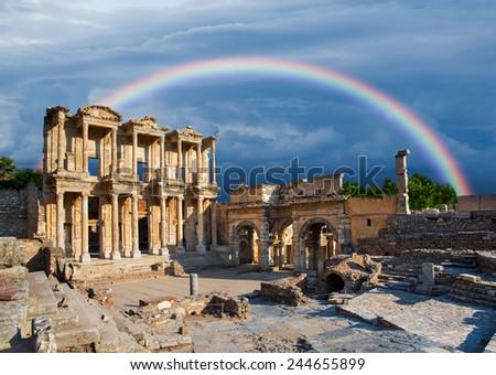 Celsus Library in Ephesus - stock photo