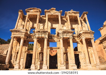 Celsus library in ephesus, izmir, turkey - stock photo