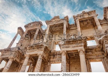 Celsus library in Ephesus Selchuk - stock photo