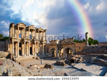 Celsus Library in Ephesus with rainbow - stock photo