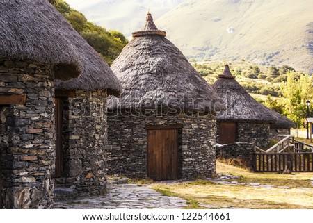 Celtic castro in Chano, Leon, Spain - stock photo