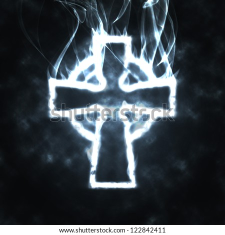 celtic cross in the smoke abstract tribal illustration - stock photo