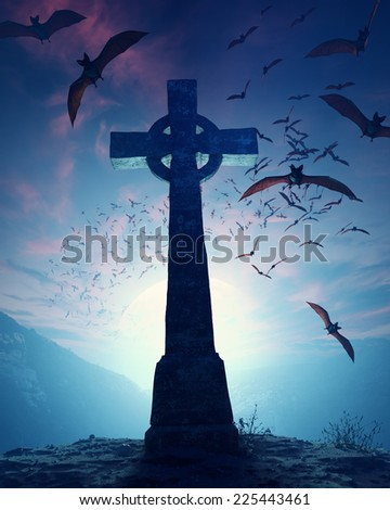 Celtic Cross with swarm of bats invading against misty moon - stock photo