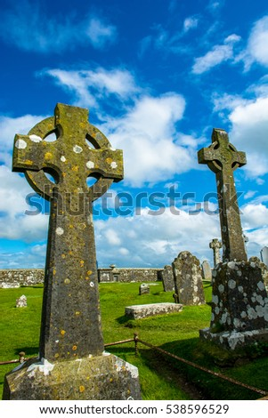 Celtic Crosses on Graveyard at Rock of Cashel in Ireland
