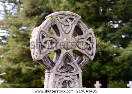 Celtic grave headstone - stock photo