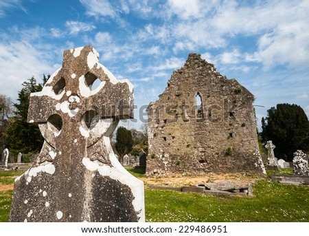 Celtic graveyard ruins Ireland  - stock photo