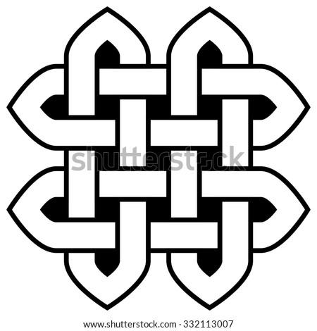 Celtic Knot Illustration Square Shape Black Stock Illustration