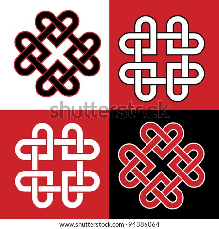 Celtic knot made of hearts. Also available in vector format.