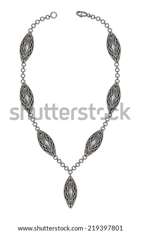 Celtic Necklace. Hand drawing and painting on paper. - stock photo