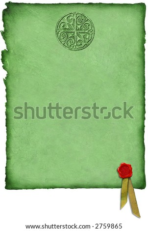Celtic Parchment w/ Wax Seal - stock photo