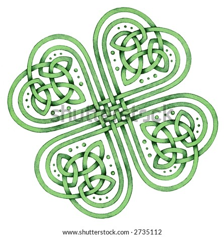Celtic Shamrock - Many Blessings - stock photo