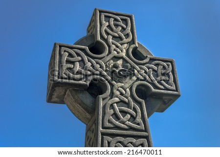 Celtic stone cross in the grounds of St Mary's church, Todmorden, Uk. - stock photo