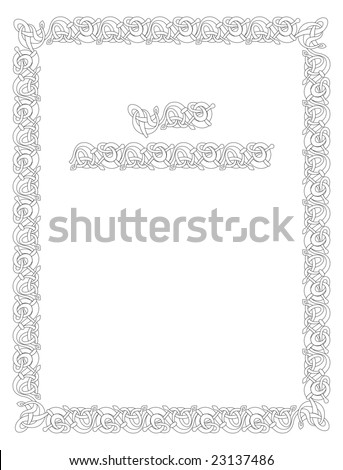 Celtic vector knot illustration decorative border ornament - stock photo