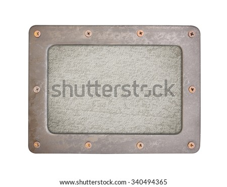 cement background plate with frame and screws - stock photo