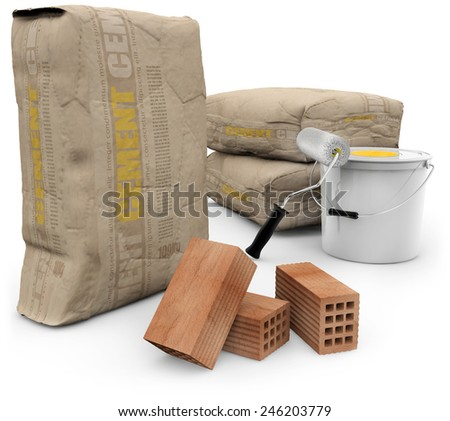 cement bags, bricks and paint isolated on white - stock photo