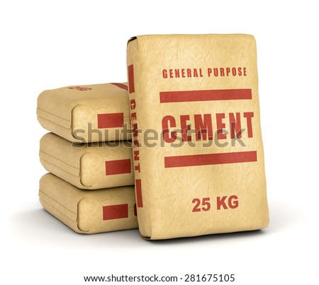 Cement bags. Paper sacks isolated on white background. - stock photo