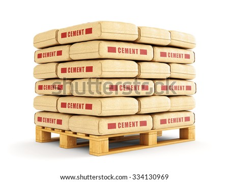 Cement bags stack on wooden pallet. Paper sacks isolated on white background. - stock photo