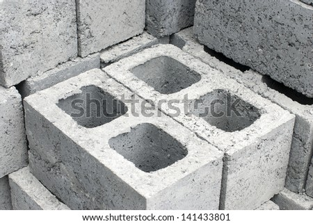 Cement blocks used in building construction - stock photo