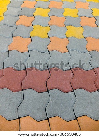 Cement brick floor background - stock photo