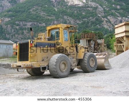 cement, concrete, factories, gravel, industrial, industries, load, mixer, plant, quarries, red, rock, truck - stock photo