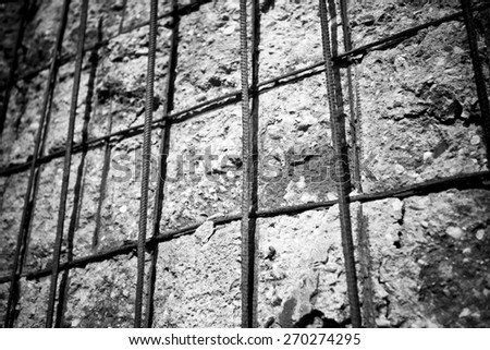 Cement construction iron reinforcement, black and white - stock photo