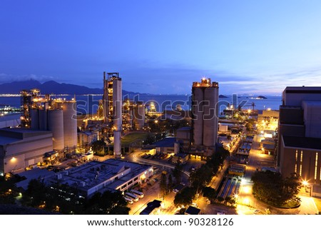 cement factory at night