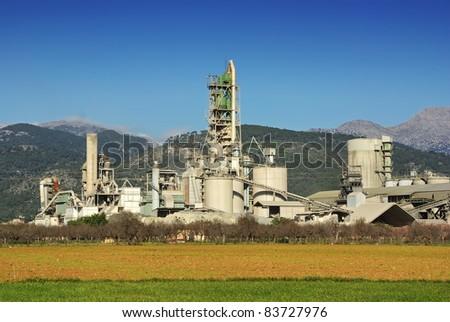 Cement Factory facilities in Majorca (Spain) - stock photo
