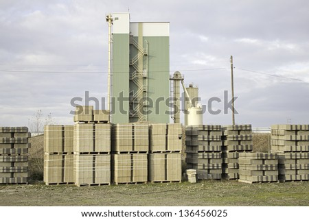 Cement factory for pallets full of building materials, business