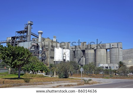 cement factory outside - stock photo