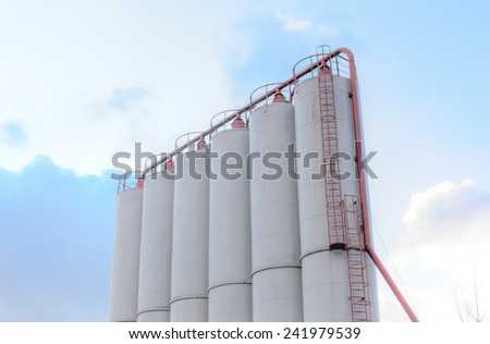 Cement factory site - group of storage silos