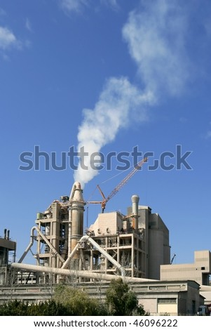 Cement factory view   blue sunny day - stock photo