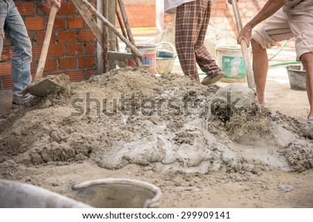 cement for house building - stock photo