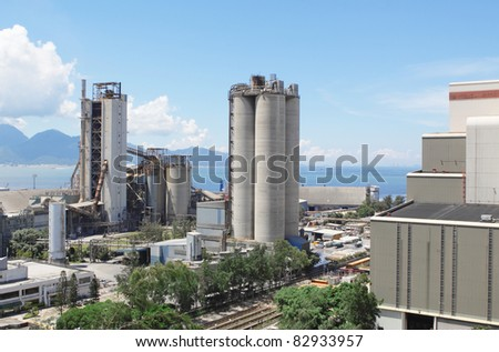 Cement Plant,Concrete or cement factory, heavy industry or construction industry. - stock photo