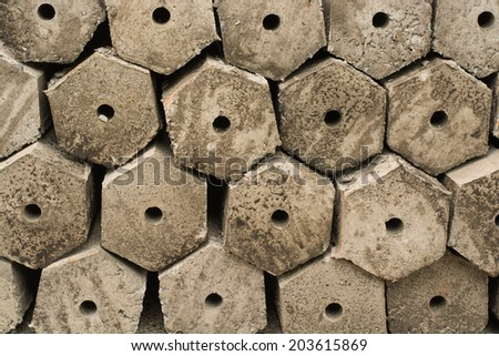cement poles for construction - stock photo