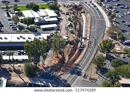Cement Pour and construction in Canal - stock photo