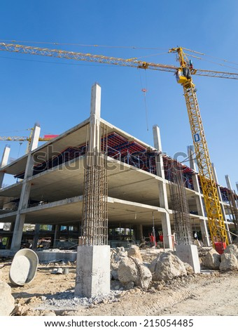 cement prop in  building construct site - stock photo