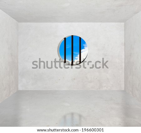 Cement room with baluster see through the sky. - stock photo