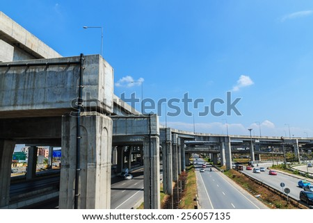 Cement structure Expressway east of Thailand.