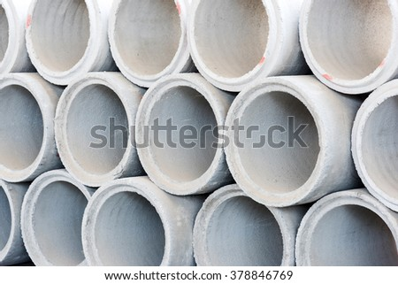 Cement tube water drain for construction  - stock photo