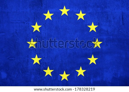 Cement wall paint Euro flag for background