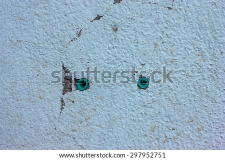 Cement walls to break the plastic cleat - stock photo
