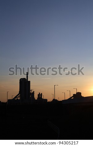Cement Works Rugby England at sunset