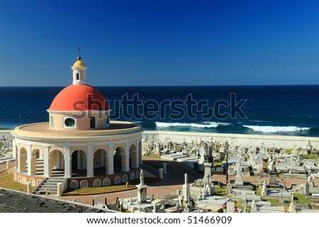 Cementerio de Santa Maria Magdalena de Pazzis on the Atlantic Ocean in Old San Juan, Puerto Rico - stock photo
