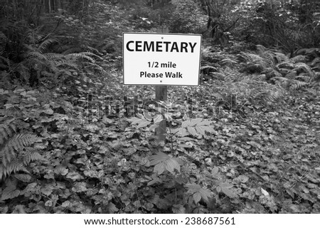 Cemetary signal post in the forest. Vancouver. British Columbia. Canada - stock photo