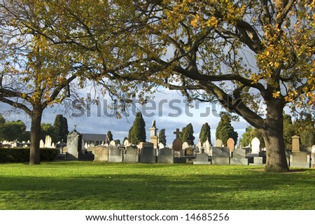 Cemetery afternoon sun - stock photo