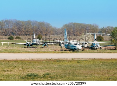 Cemetery aircraft near the runway - stock photo