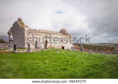Cemetery and Church in Ireland. - stock photo